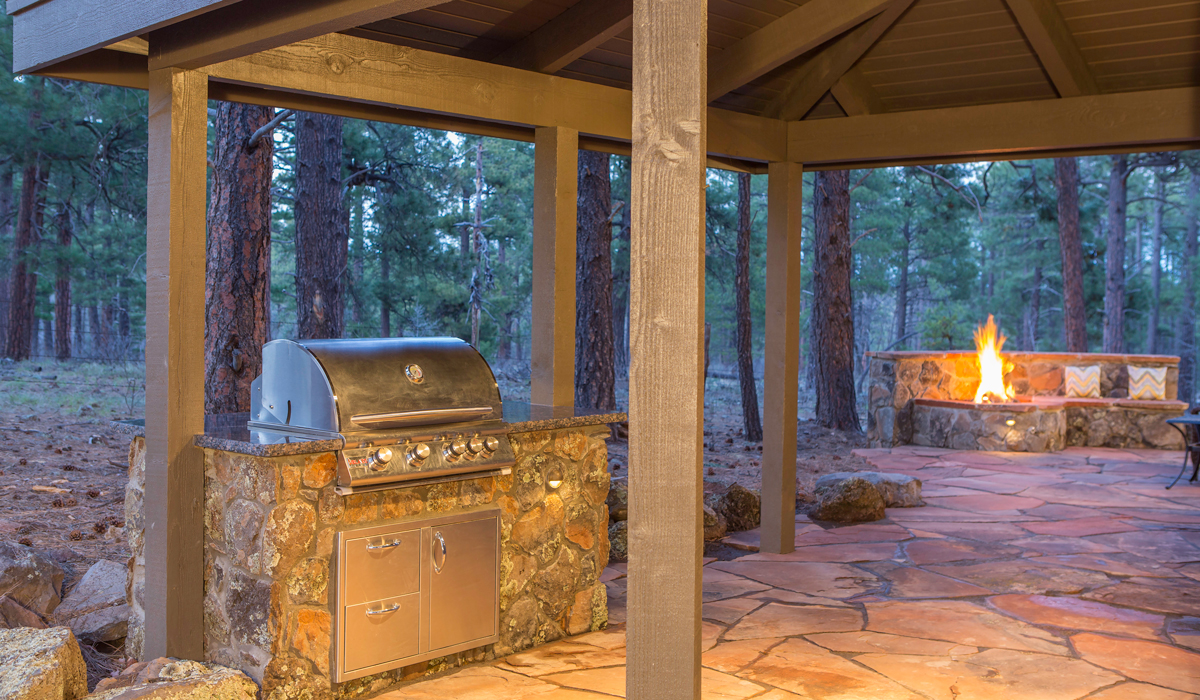 Flagstaff Landscaping BBQ - Grill - Rock Seating