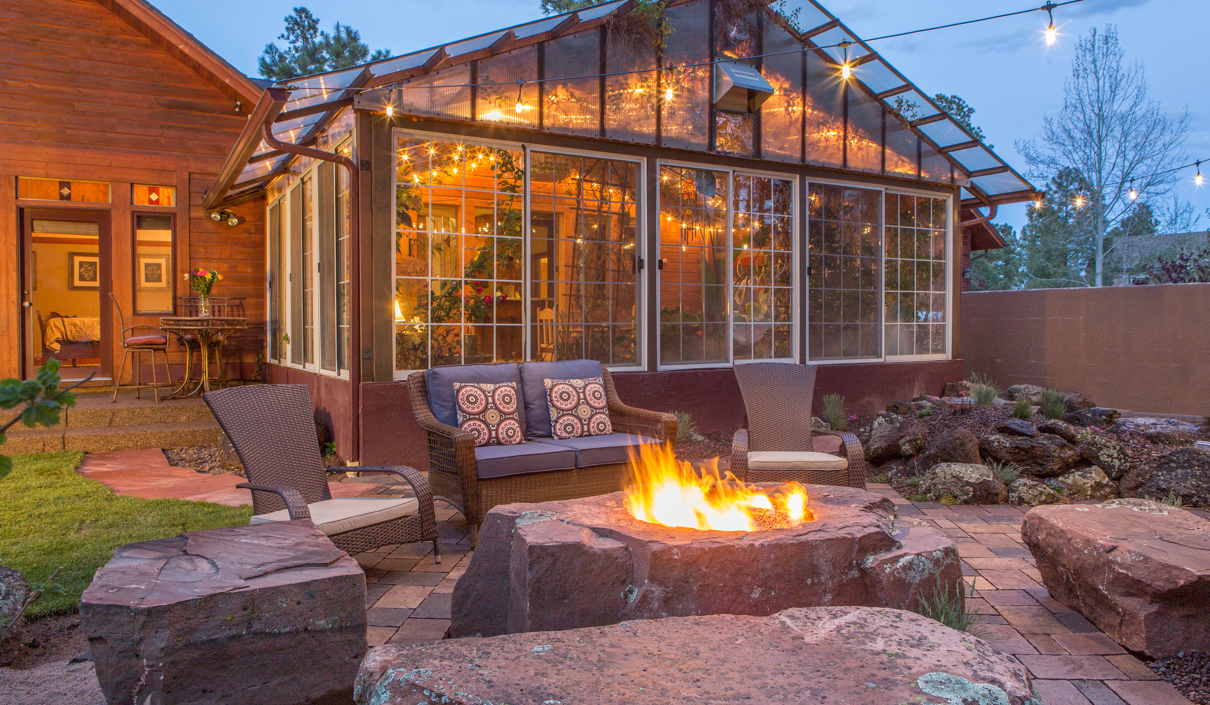 patio landscaping construction and fire-pit backyard