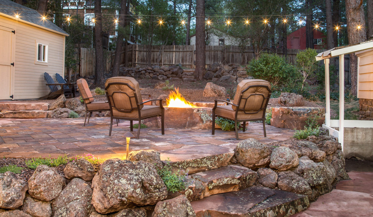 flagstone patio, fire pit
