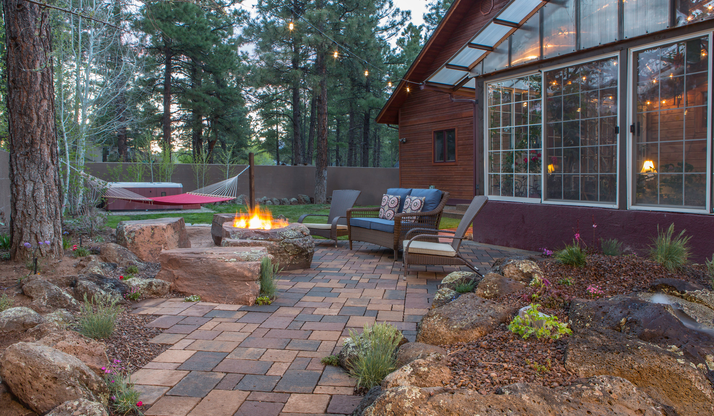 flagstaff patio landscaping with fire-pit