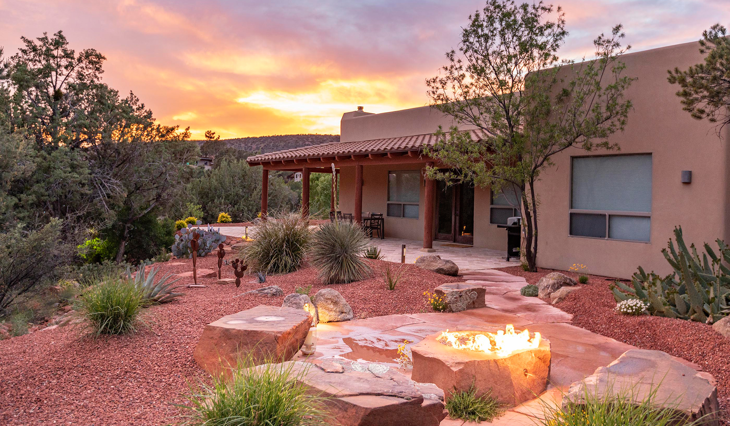 Landscape Design with Flagstone Patio and Fire-pIt Sedona Arizona